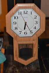 Vintage Wall Hanging Heirloom Quartz Regulator Clock Missing Chimes Clock Works