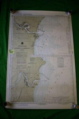 Michigan Wisconsin Manitowoc & Sheboygan 38x25 - Vintage 1983 Nautical Chart/Map