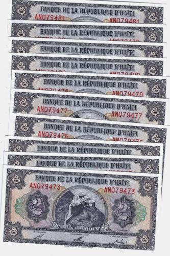 10 pc lot HAITI 2 GOURDES 1992 P 254 UNC