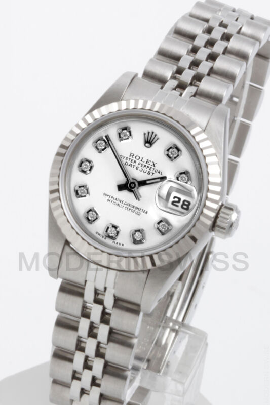Rolex Ladies Datejust Steel White Diamond & Gold Fluted Jubilee Oyster Perpetual