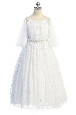 Long Sleeve Communion Dress (White Girls First Communion Mesh Dress Pearls Long Sleeve Baptism Wedding)