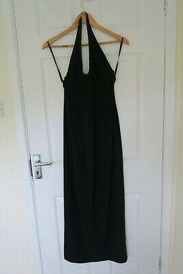 Karen Millen Full Length Black Halter neck Low Back Evening Dress Gown UK 10/ 12