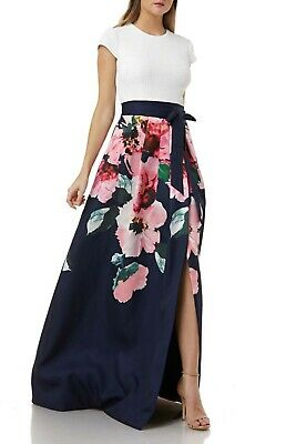 CARMEN MARC VALVO INFUSION SEQUIN BODICE FLORAL PRINT SKIRT GOWN DRESS sz 12 Bodice Print Skirt
