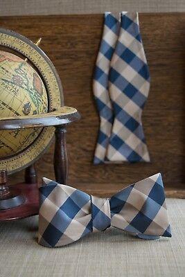 Men's Navy Beige Checkered Plaid Bowtie Self Tie Fashion Accessories
