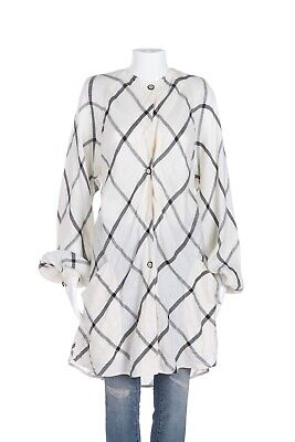 EMANUEL UNGARO GARFINCKEL'S Vintage Check Linen Top 8 Shirt Jacket Ivory Black