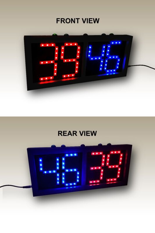 "Double-Sided Scoreboard Red/Blue (5"" digits) - Remote & Direct Control"