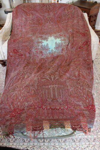 "Rare Antique Turquoise Center Wool Paisley Kashmir Shawl~L-125""X W-62"""