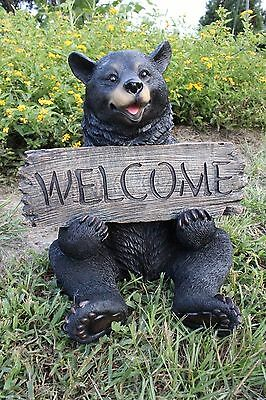 Black Bear Statue Black Bear Welcome Sign Statue Sculpture Yard Decor New Large - Bears Decorations