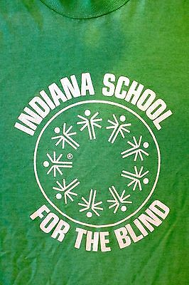 VTG 80's 90's INDIANA SCHOOL FOR THE BLIND Green SIZE S Screen Stars Best (Best Schools For The Blind)