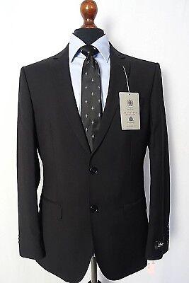 Men's Alexandre Savile Row Suit Black Twill Tailored Fit 38R W32 L31 VB39