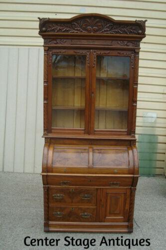 60682  Antique Victorian Walnut Cylinder Secretary Desk with Bookcase Top