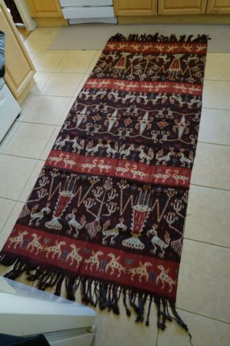 ANTIQUE IKAT SUMBA INDONESIAN MUTED RED, BLUE AND BROWN #1