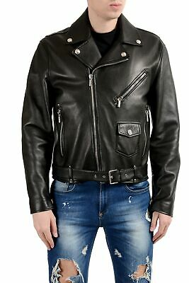 Versace Men's 100% Leather Black Belted Double Breasted Jacket Size M L 2XL