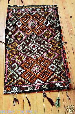 1'9''x3'1'' Antique Cicim Embroidered Cushion Cover Natural Dyes Tribal Folk-Art