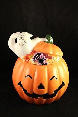 Harry And David Halloween Pumpkin Jack O' Lantern Ghost Holiday Candy Cookie Jar - Harry And David Halloween Cookies