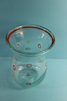 ALTE BLUMENVASE MIT ORNAMENTEN  HANDBEMALT GLAS 50ER JAHRE