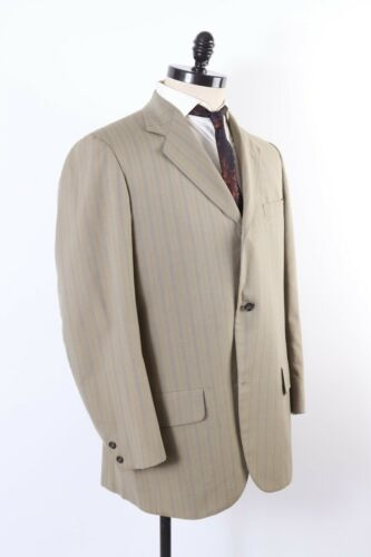 Vintage 70s BROOKS BROTHERS Wool Pin Stripe 3 Button Suit USA Mens Size  44 Long