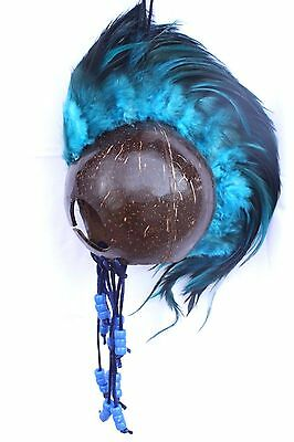 "Blue Ikaika Hawaiian Warrior Coconut Helmet ~ 3"" Coconut  # WR-0002 (Blue)"
