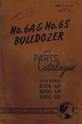 Caterpillar Vintage 6a 6s Bulldozers Parts Catalog Manual