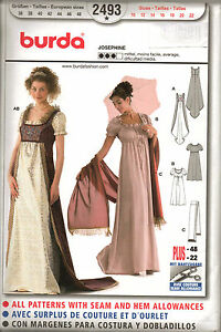 From UK Sewing Pattern Dress Regency Period Costume Jane Austin 10-22 #2493