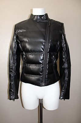 PRADA Black Leather Logo Plate Down Puffer Bomber Moto Jacket Size 10 / 46