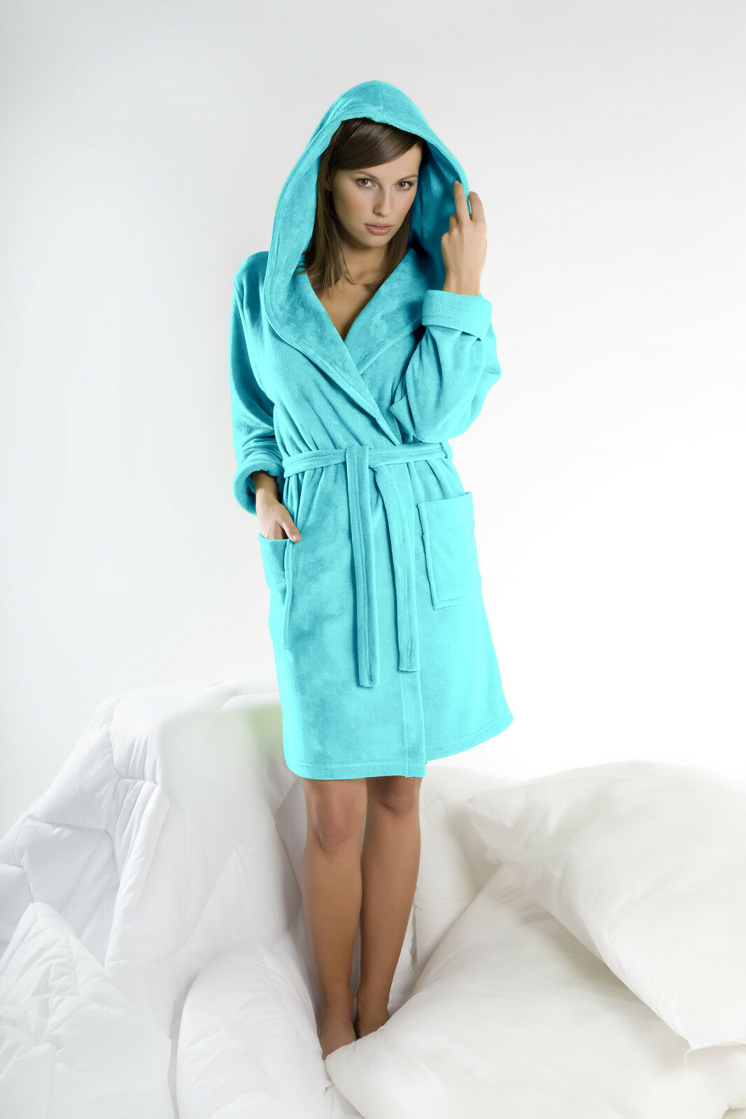Womens Cotton Blend Hooded Bathrobe Dressing Gown Housecoat UK Robe Size 8 10  12 55b7a4426