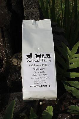 100% Kona Coffee Green Beans (Organize to Roast) 4 pounds whole bean, free shipping