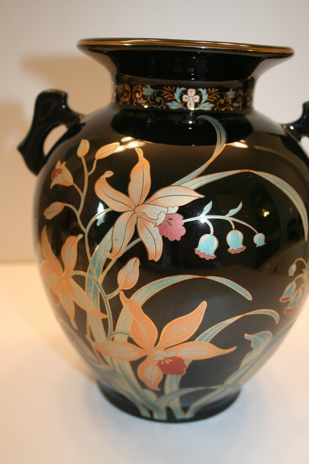 Large Vintage Black Japanese Vase With Painted Orchids 8 Inches Tall - $37.00