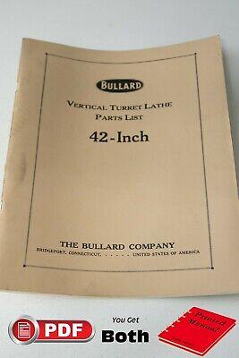 Bullard Vertical Turret Lathe 42 Parts Manual