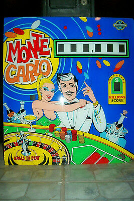 Original 1970s Nordamatic Monte Carlo Pinball Machine Backglass -Pick Up in Indy