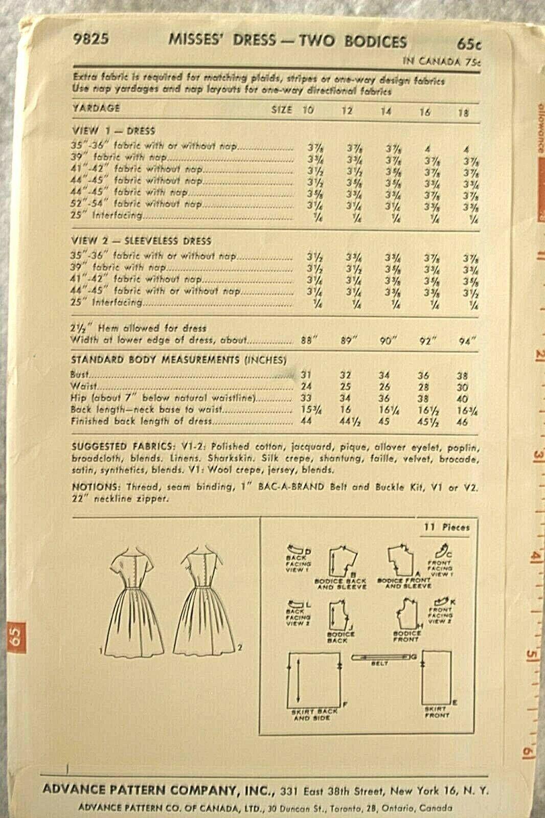 Vintage 1959 Advance Pattern 9060 Size 22.5