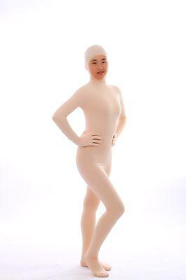 Nude Full Body Suit (Nude Unisex Lycra Spandex Full Body Suit Face Open Second Skin Back Zip)