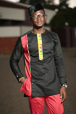 Kente & Black cotton Men's African Clothing Men's Fashion African Men's wear