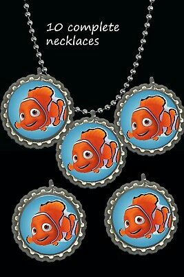 Finding Nemo necklace Bottle Cap Necklaces party favors lot of 10 baby shower](Finding Nemo Baby Shower)