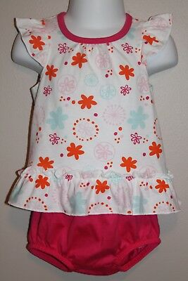 GIRLS 0/3 months 2-piece outfit NWT floral dress & pink bloomers Fisher-Price