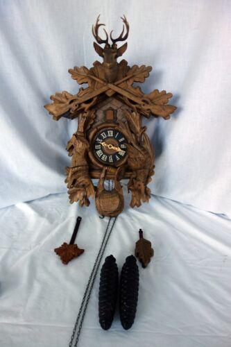 Vintage German Cuckoo clock black forest hunter style