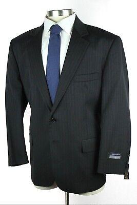 NWT $395 HARDWICK USA Benton Black Stripe Wool 2Btn Suit 46S 41W Fits 48S