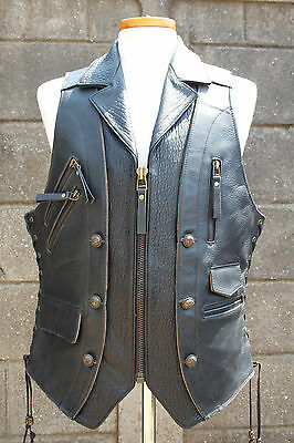 NEW! Biker motorcycle vintage custom made premium leather black vest (only one!)