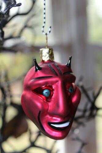 "HALLOWEEN RED DEVIL ORNAMENT VINTAGE CHRISTOPHER RADKO - 2.5"" glass demon ~ HTF*"