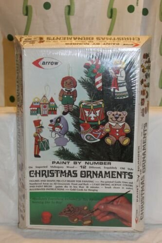 Vintage NEW Factory Sealed Arrow 12 Wood Paint By Number Christmas Ornament Kit