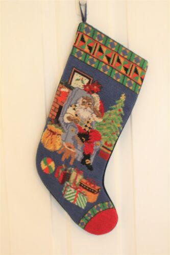 African American Black 16 inch Santa Vintage Christmas Stocking