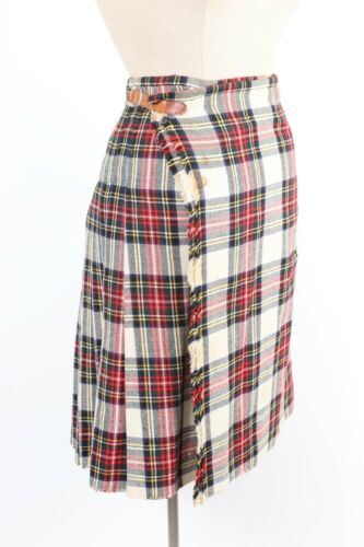 Vintage 100% Wool Plaid Scottish Tartan Skirt Wrap Kilt Women