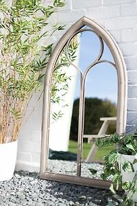 La Hacienda Church Window Stone Effect Lindesfarne Metal Garden Mirror Feature