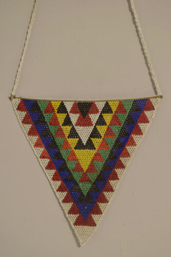 African Necklace Unmarried Woman Beaded Zulu Large Beaded Triangle Necklace