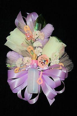 Baby Shower Corsage Lavender Baby Socks & Lanvender Ribbons Handmade