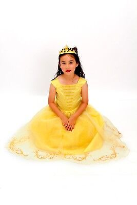 Yellow Belle beauty princess new costume light up with free tiara Size T XS S M