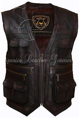 Jurassic World Chris Pratt Owen Grady Genuine Brown Distress Leather Vest