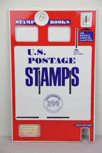 VTG US POSTAGE STAMPS ENAMEL VENDING MACHINE FRONT DECOR RED WHITE BLUE DISPLAY