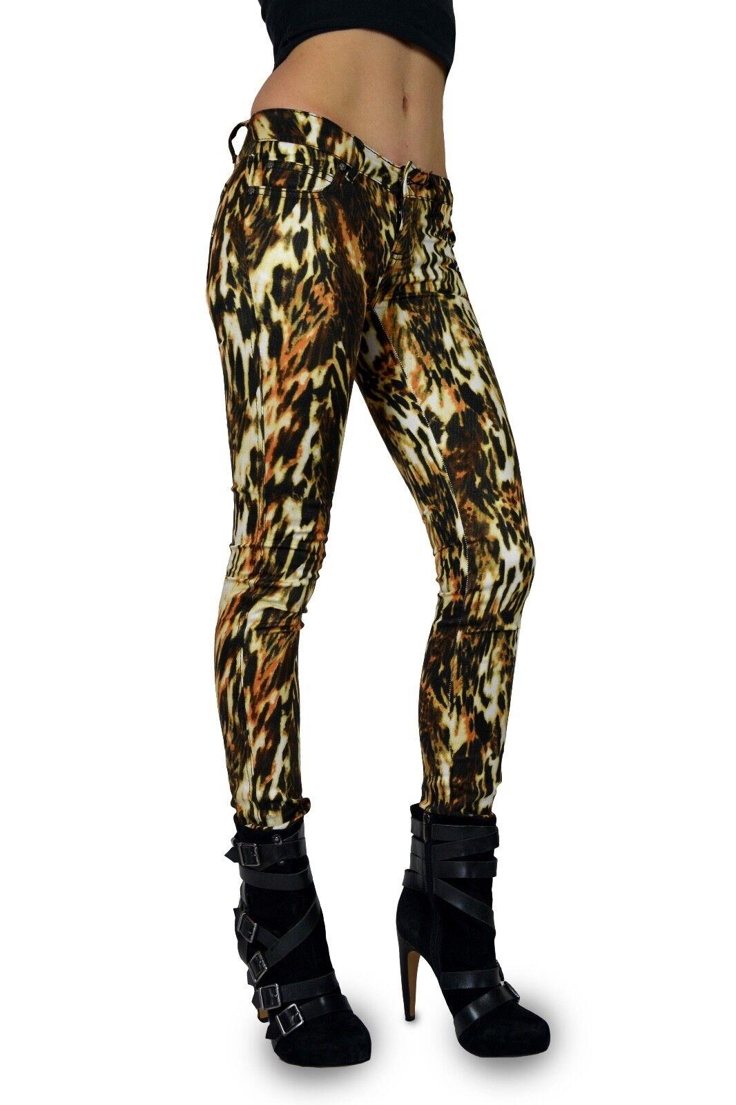 TRIPP EMO GOTH PUNK ROCKER JUNGLE CAT PRINTED JEANS PANTS SKINNY METAL IL8833P Clothing, Shoes & Accessories