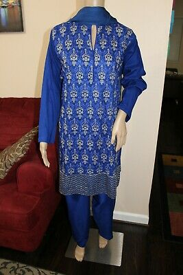 - Pakistani Royal blue Straight Shirt 3-PC Arabic Lawn Suit w/  Fancy Thread work